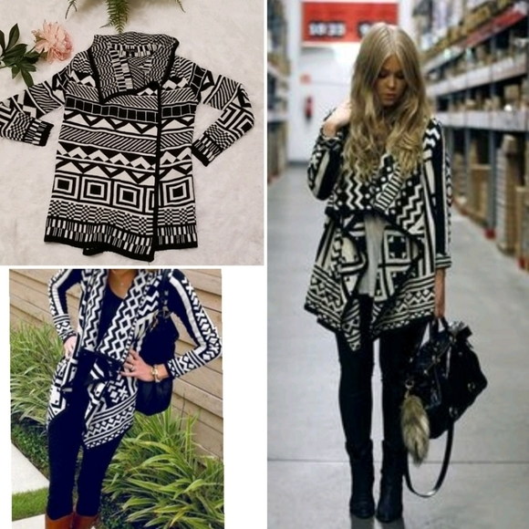 Tribal Aztec Open Front Knit Sweater Cardigan